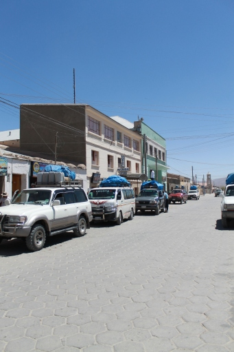 Every morning, the street looks like this in Uyuni: jeeps gearing up to go...