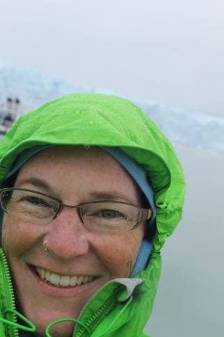 I am very happy to see my first glacier, despite the freezing rain