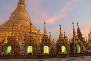 Shwedagon at sunset - one of many reasons why it doesn't matter if you aren't first - you'll still go back.