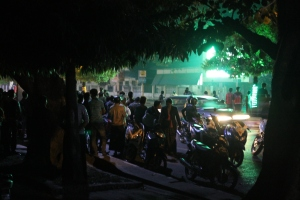 Watching the SEA games on the street in Mandalay