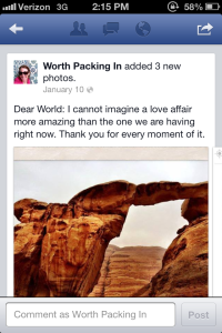 My global love affair, as posted to FaceBook on the day I visited Wadi Rum