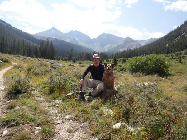 Spanky hiking with Santa Barbara's son